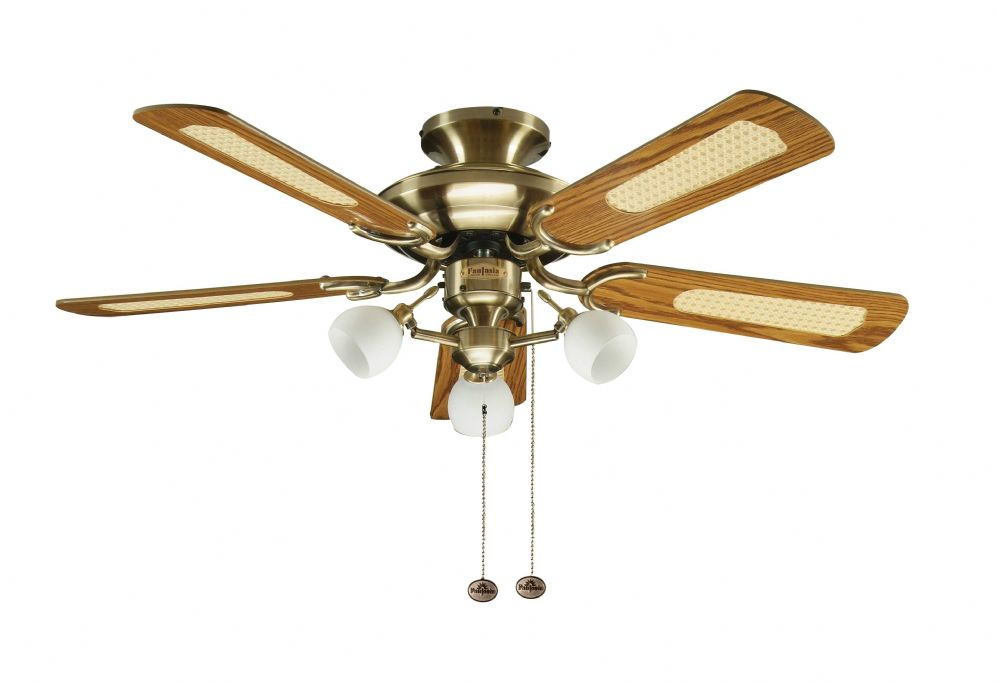 "Fantasia Mayfair Combi 42"" Antique Brass Ceiling Fan +  Light 111962"